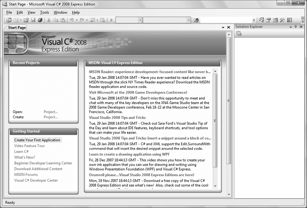 The Start Page for Visual C# 2008 Express. It looks pretty empty now, but that won't last long. You'll be using the Create link on the lefthand side.