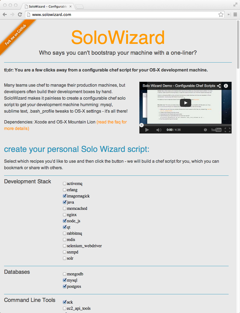 SoloWizard bootstraps Mac OS X development workstations