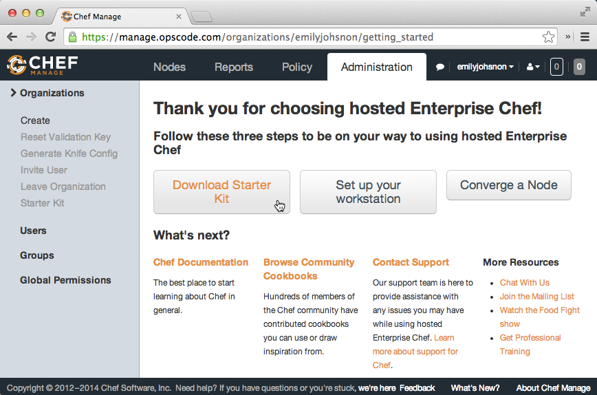 Hosted Enterprise Chef post-signup page