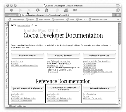 Cocoa Developer Documentation index page