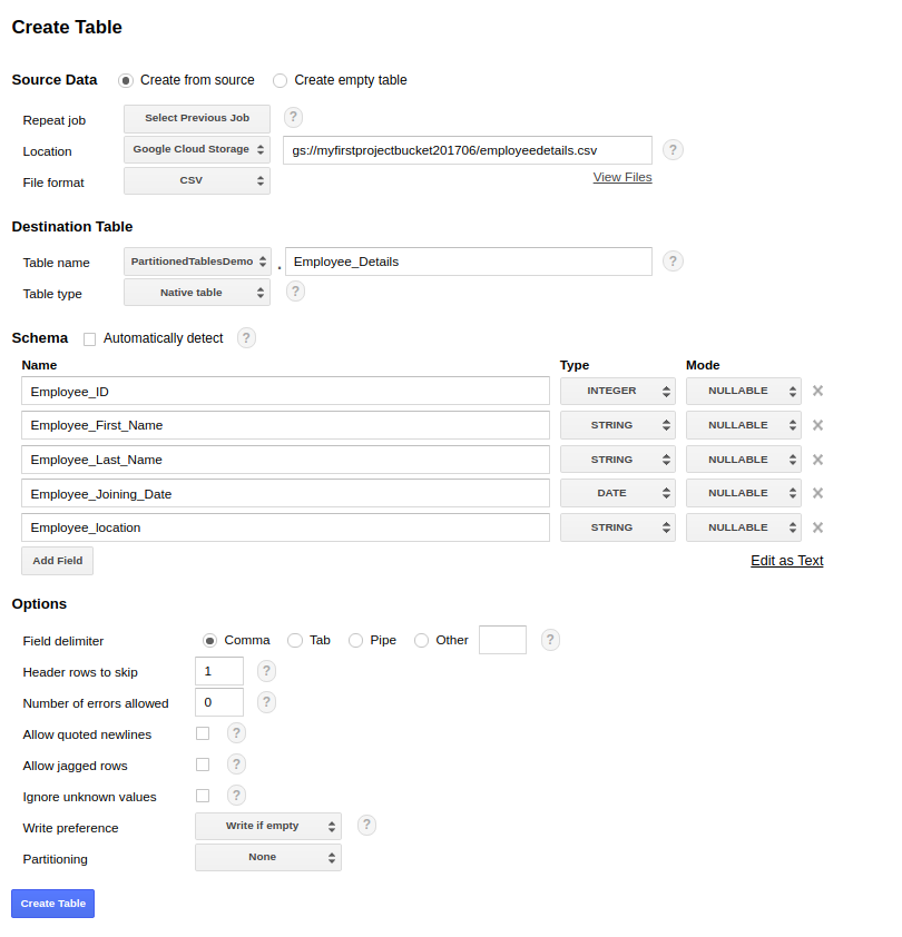Creating a partition table using a GUI - Learning Google BigQuery [Book]