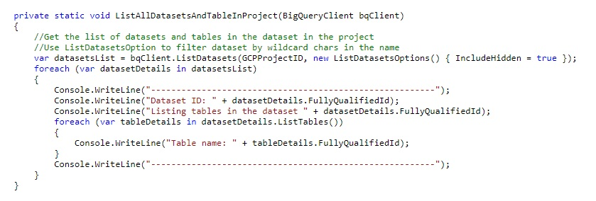 Listing all datasets and all tables in the project - Learning Google