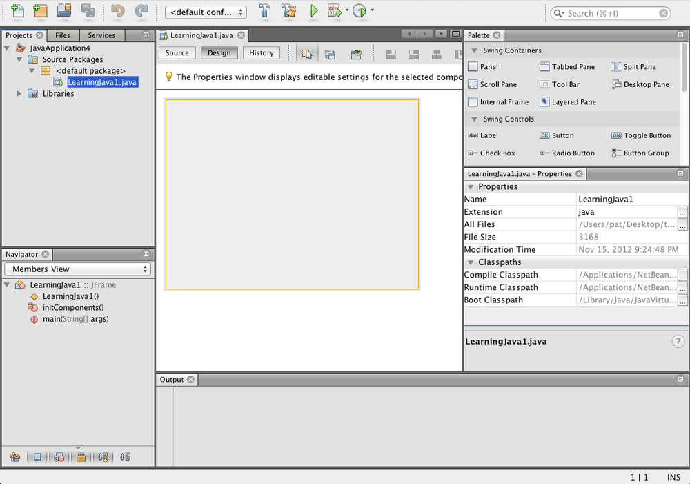 The NetBeans workspace
