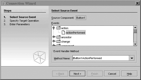 Selecting a source event in the Connection Wizard