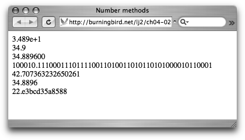 The Number object instance methods in Safari