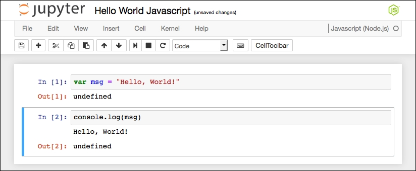 JavaScript Hello World Jupyter Notebook