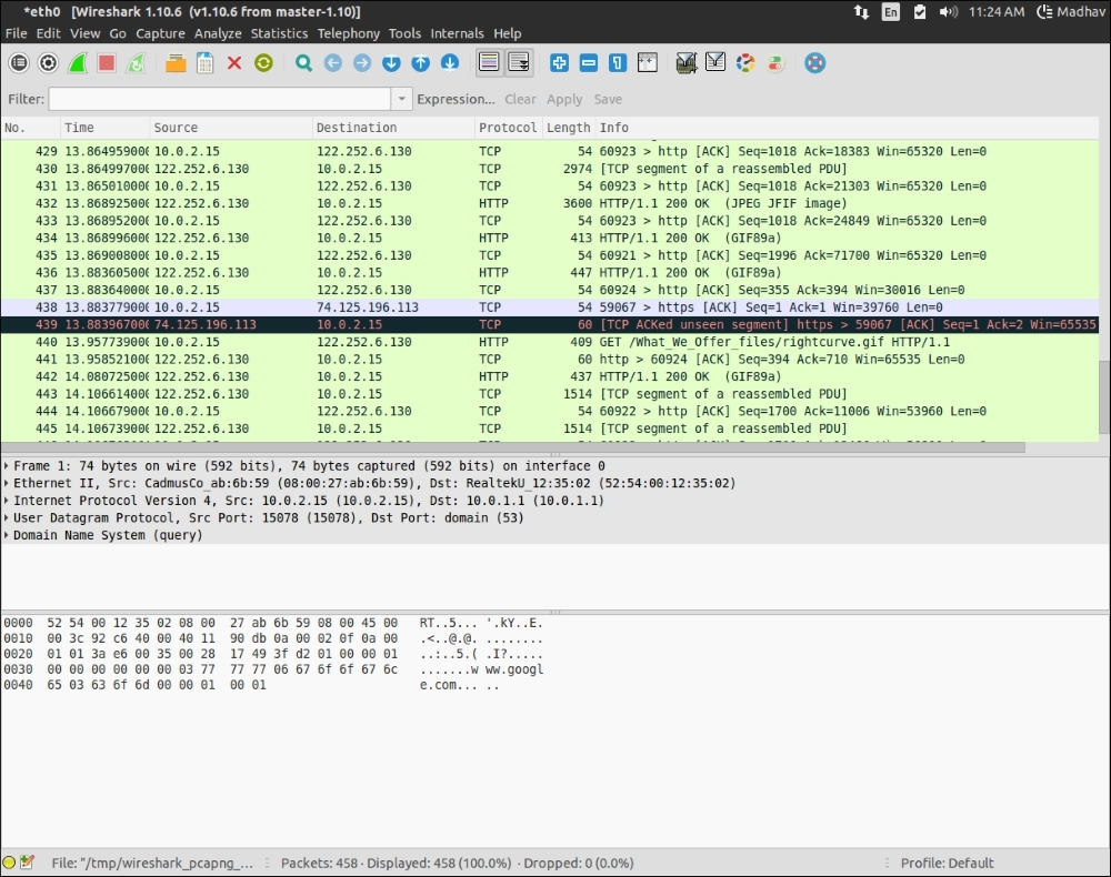 Packet sniffing and analysis using Wireshark