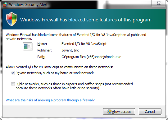 Warning that the Windows Firewall blocked Node application, and the option to bypass
