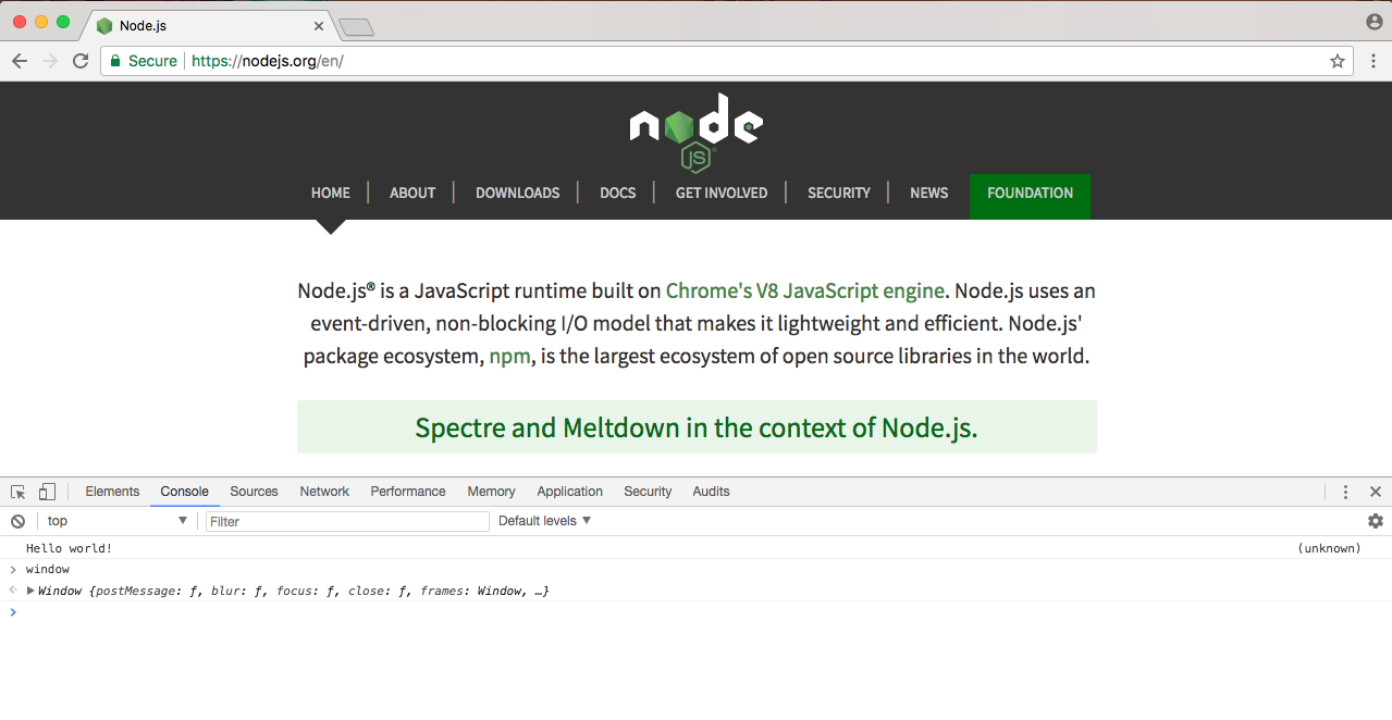 Differences between JavaScript coding using Node and in the