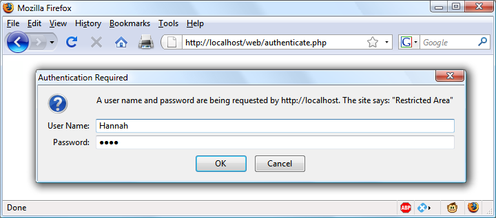 An HTTP authentication login prompt