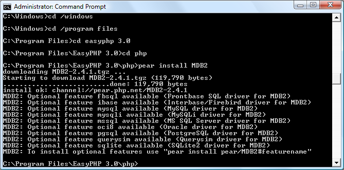 Installing the PEAR MDB2 package