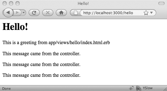 The hello page after the loop executes