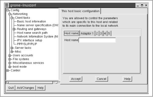 The basic host information dialog box