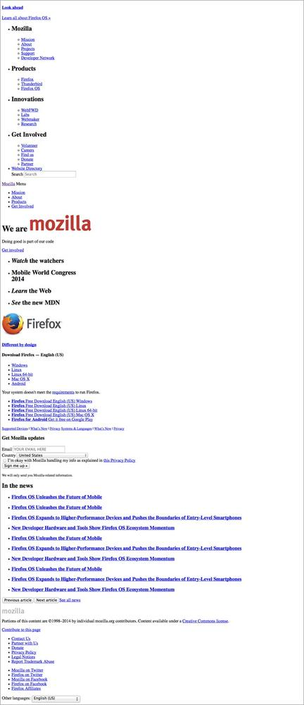 The Mozilla website displayed without any CSS applied to the page.