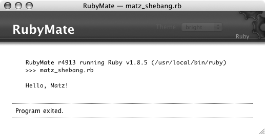 Results of running a Ruby program in TextMate