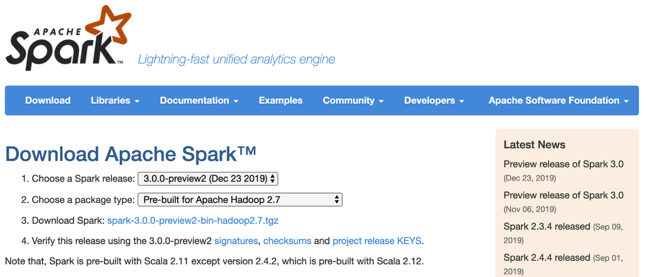 The Apache Spark download page
