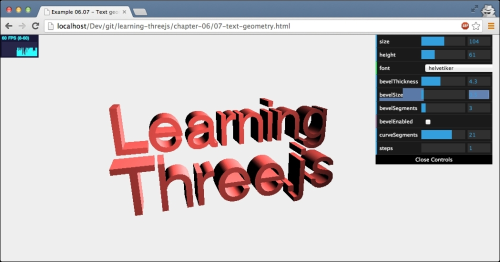 Creating 3d Text Learning Threejs The Javascript 3d Library For