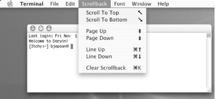 Command sequences accessible from the Scrollback menu