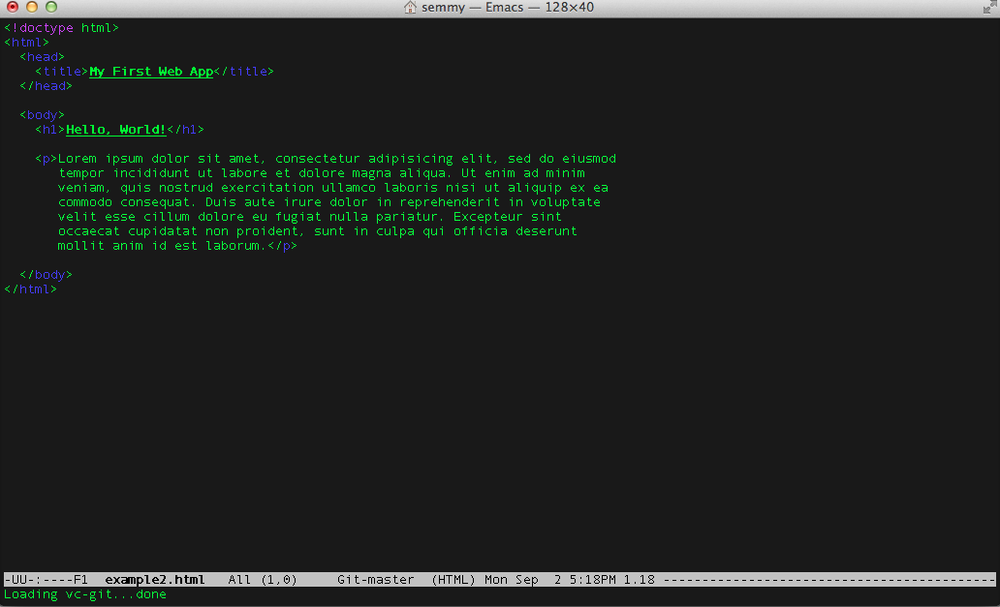 An HTML document opened in Emacs