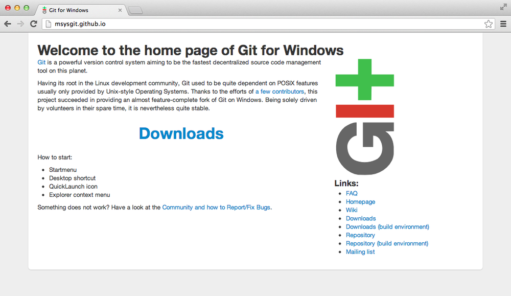 The msysgit homepage