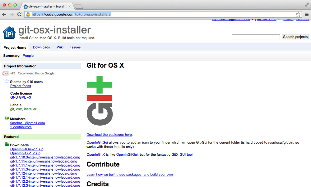The Git for OS X homepage