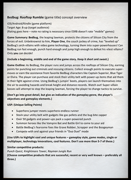BONUS LEVEL The OneSheet Sample Level Up The Guide To Great - Game concept document