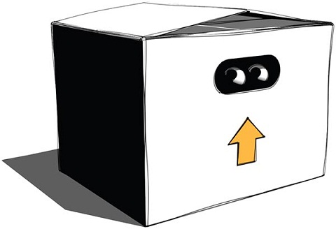 Image of a box with an upward arrow and eyes drawn on its front face.