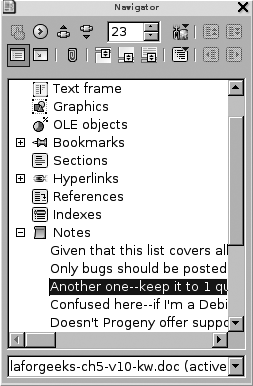 Navigating OpenOffice.org Writer embedded comments
