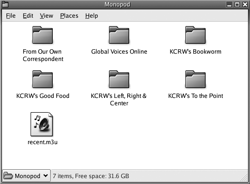 Downloaded podcast folder