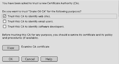 Click OK to accept the new Certificate Authority or View to read the fine print.