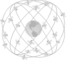 Satellites circling the earth in six orbital paths