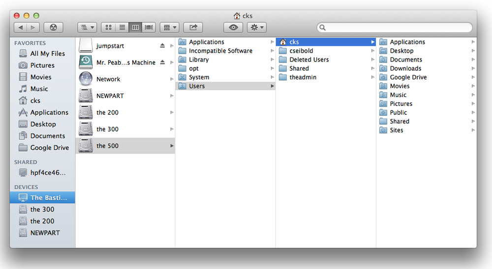 Discovering the Home folder using the column view layout in the Finder.