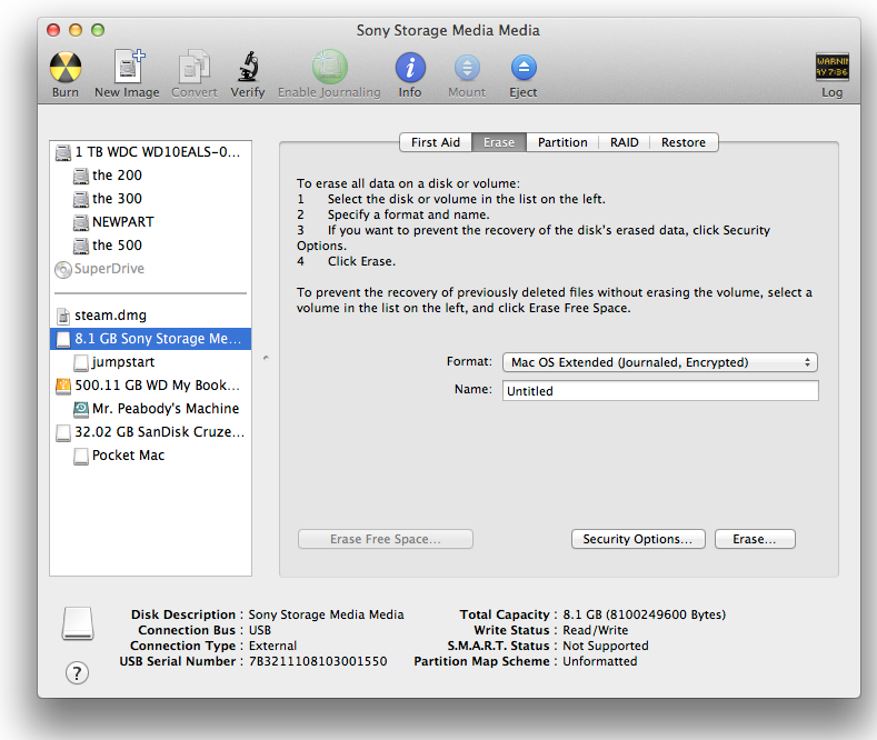 Changing the factory settings to an OS X–preferred format.