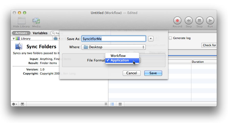 Depending on how you want to use it, you can save an Automator action as a workflow or as an application.