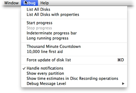 Disk Utility's Debug menu. You might not have seen it before, but it can be very useful.