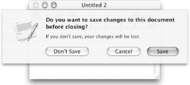 This sheet appears when you attempt to close a window with unsaved changes