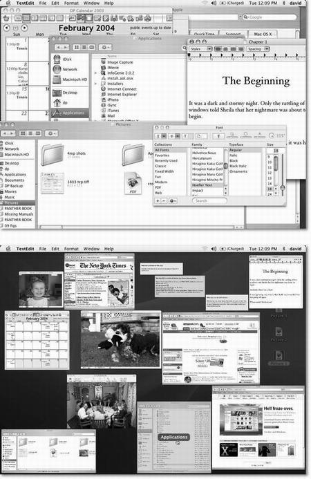 Top: Quick? Where's the Apple Web page in all this mess? Bottom: With one tap of the F9 key, you can spot that window, shrunken but unencumbered and un-overlapped. As your cursor passes over each thumbnail, the window darkens and identifies itself, courtesy of the floating label that appears in its center. What's especially cool is that these aren't static snapshots of the windows at the moment you Exposé'd them. They're live, still-updating windows, as you'll discover if one of them contains a QuickTime movie during playback or a Web page that's still loading. If you're not pointing to a window, tapping F9 again turns off Exposé without changing anything; if you're pointing to a window, tapping F9 again brings it forward. (As for programs running in Classic: They get out of the way when you Exposé them, but they don't appear in thumbnail form like Mac OS X program windows do.)