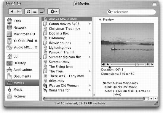 You don't need any special software to play QuickTime movies. Just view their Finder windows in column view. To preview a selected QuickTime movie, in miniature, click the Play triangle to play; click it again to pause. The two buttons on the right end are frameadvance buttons.