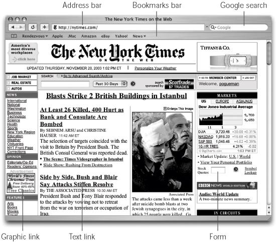 The Safari window offers tools and features that let you navigate the Web almost effortlessly; these various toolbars and buttons are described in this chapter. One difference that may throw you: When you're loading a Web page, the progress bar appears as a colored stripe that gradually darkens the Address bar itself, rather than in a strip at the bottom of the window.