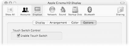 Quit System Preferences, hold down Shift-, and touch your Apple LCD Brightness button to reveal this super-secret Options tab. Turn off the box. Now your system won't ever go to sleep just because you brush the Power switch.