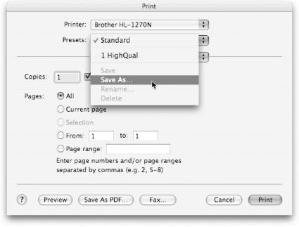To preserve printing settings, choose File Print to summon the Print dialog box. Make the settings you'd like to preserve. Before you click Print, choose Save As from the Presets pop-up menu, and give this setting combination a name. You can recall the whole shebang in the future by simply selecting this name from the pop-up menu.