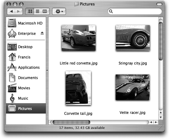 "Mac OS X lets you choose an icon size to suit your personality. For picture folders, it can often be very handy to pick a jumbo size, in effect creating a slide-sorter ""light table"" effect. Just use the slider in the View Options dialog box, shown in ."