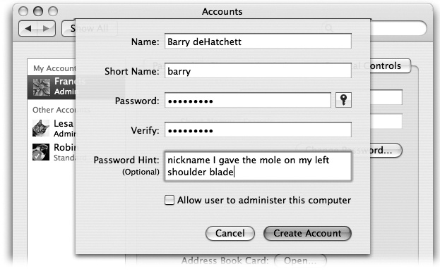 Mac OS X offers a long list of options for each account, as described in the following pages. None of it is difficult. Some of it, in fact, is kind of fun. But it all starts with this no-nonsense panel.