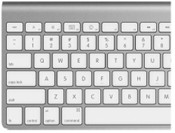 The aluminum Mac keyboards turn the F-keys on the top row into completely different buttons—according to a scheme that's different from most Mac laptops.Here, you can see that tapping the F1 through F4 keys correspond to Screen Dimmer, Screen Brighter, Exposé, and Dashboard.(The Exposé key works three different ways, depending on what modifier key you're pressing. See .)