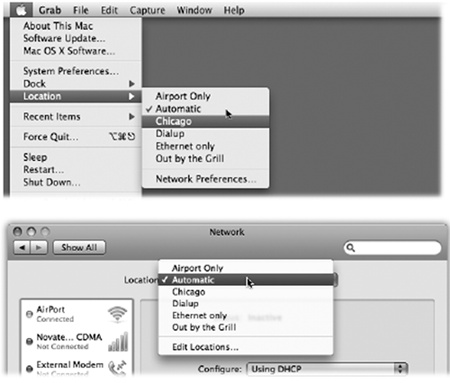 "The Location feature lets you switch from one ""location"" to another just by choosing its name— either from the menu (top) or from this pop-up menu in System Preferences (bottom).The Automatic location just means ""the standard, default one you originally set up."" (Don't be fooled: Despite its name, Automatic isn't the only location that offers multihoming, described earlier in this chapter.)"