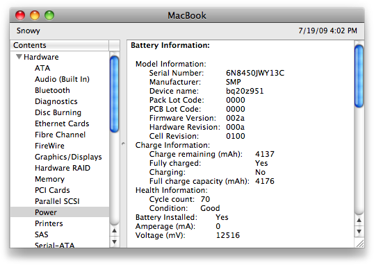 The Power section of System Profiler will tell you all about your battery