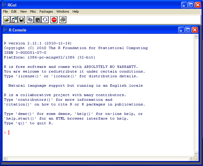 The RGui and R Console on a Windows installation