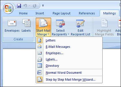 Section 3. Selecting a Main Document Type - Mail and Data Merges ...