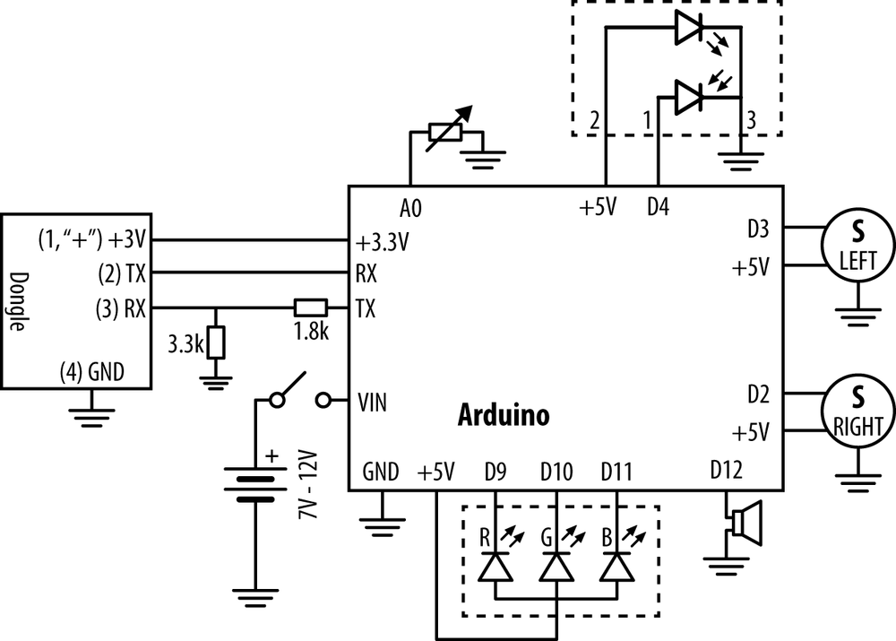 Circuit diagram for complete robot, mindcontrol.pde