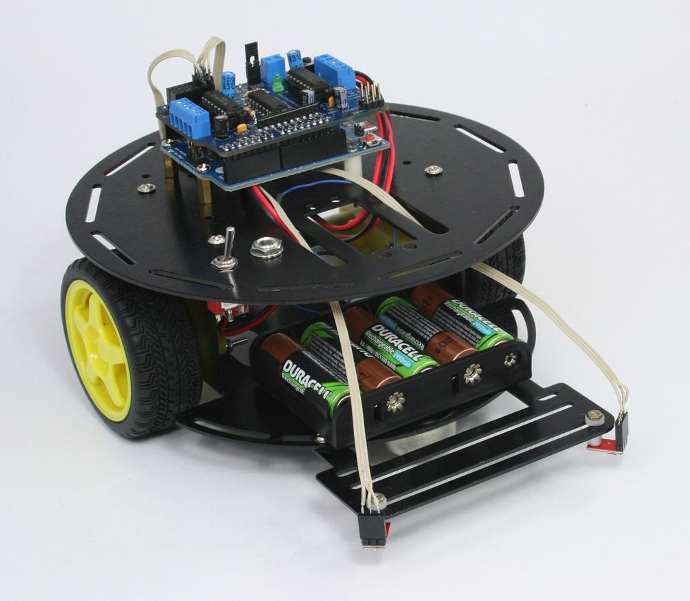 The assembled two wheeled robot chassis